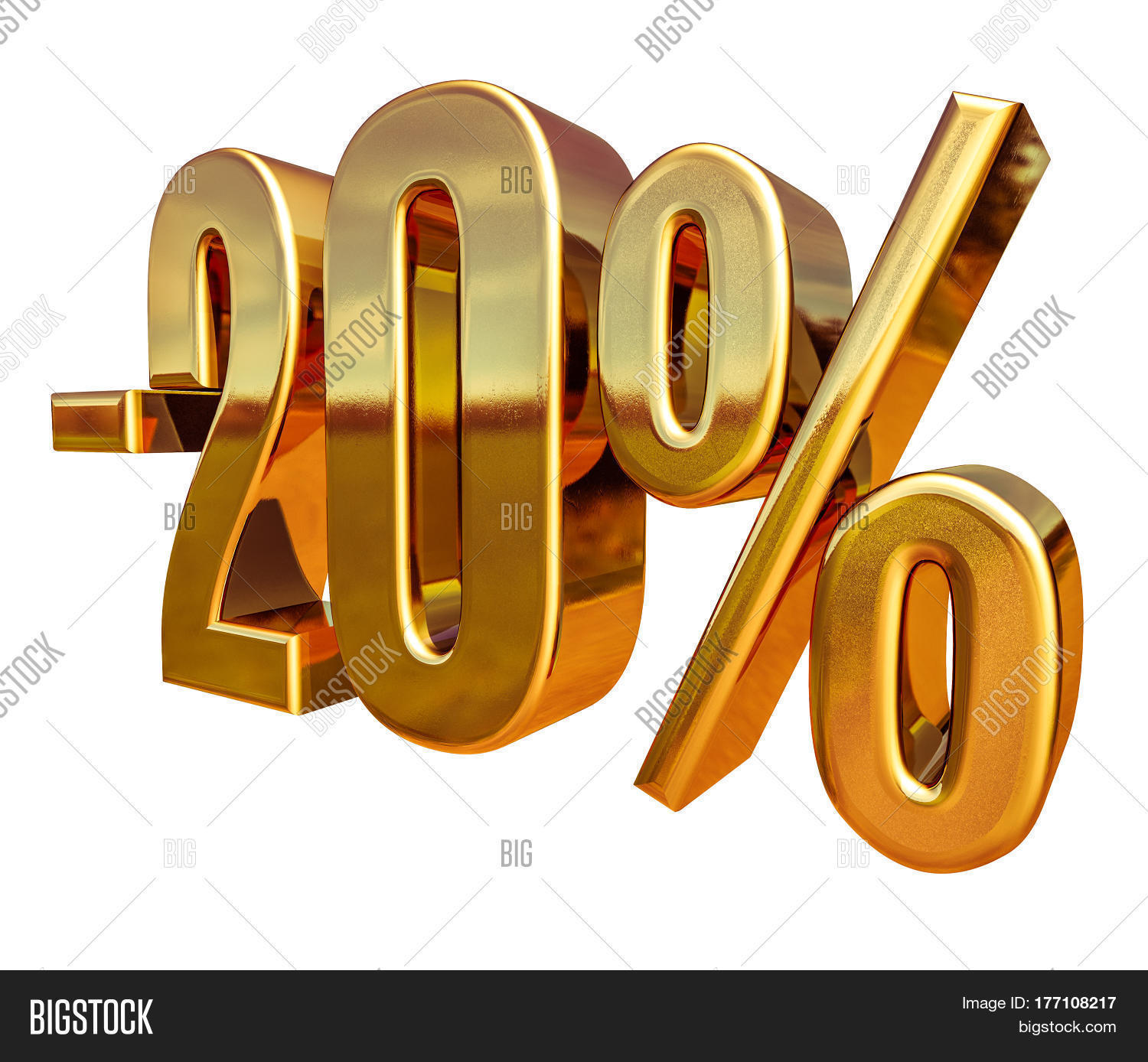 imagem e foto 3d render gold 20 percent off bigstock. Black Bedroom Furniture Sets. Home Design Ideas