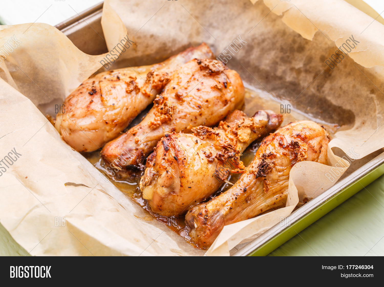 Fried chicken on cooking paper image photo bigstock for Table 52 fried chicken recipe