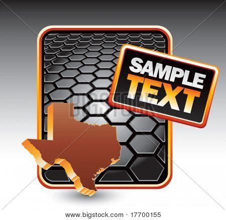 texas state on black hexagon advertisement