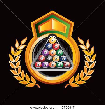 bolas de billar en naranja royal crest