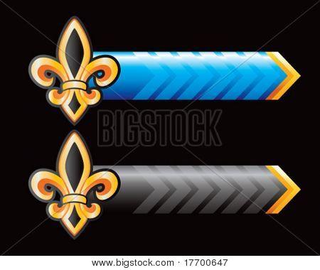 fleur de lis on blue and black arrows