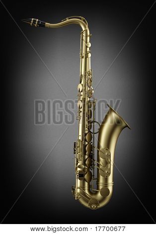 single tenor saxophone on dark wall background