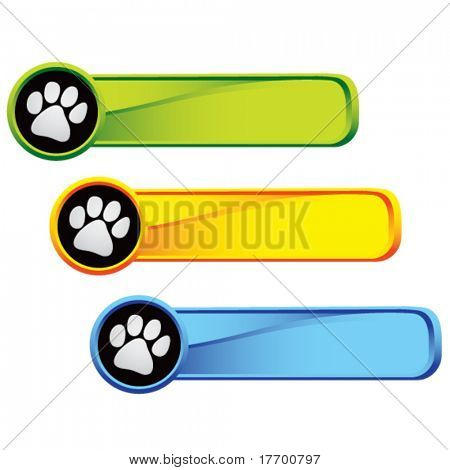 paw print icon on colored tabs