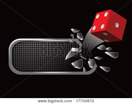 red dice on broken banner