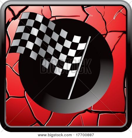 racing checkered flag on interesting web button