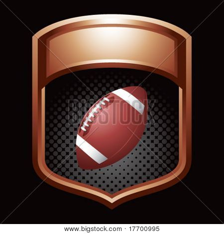football on glossy display crest