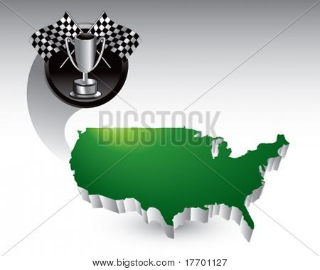 racing checkered flags and trophy flying across the usa