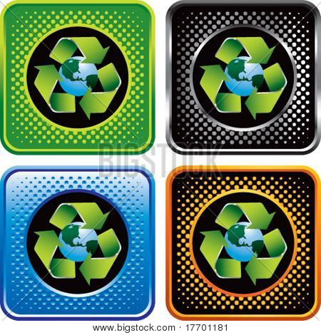 symbol of green planet on multicolor halftone web boxes