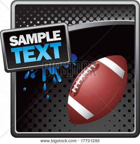 football on grunge style splat background colored blue