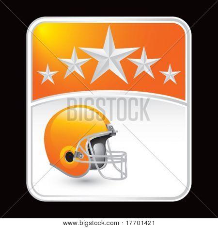 football helmet on orange star background