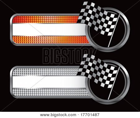 racing checkered flag on diamond textured banners