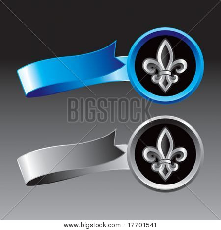 fleur de lis on blue and silver ribbons