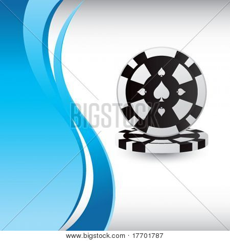 stacked poker chips on blue vertical wave background