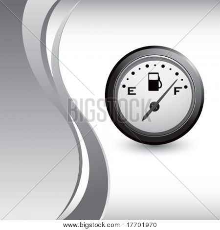 gas gauge on vertical silver wave background