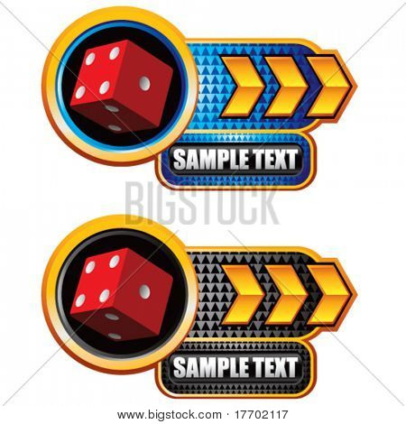 red dice on glossy arrow web button