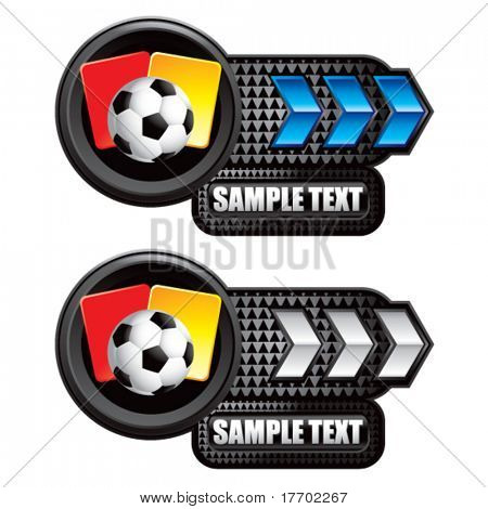 soccer ball and penalty cards on blue and silver arrow banners