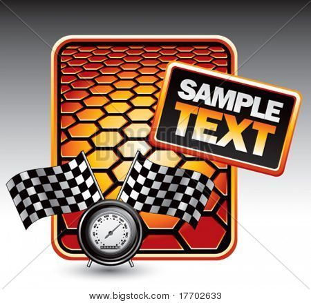 speedometer and checkered flags on orange hexagon templates