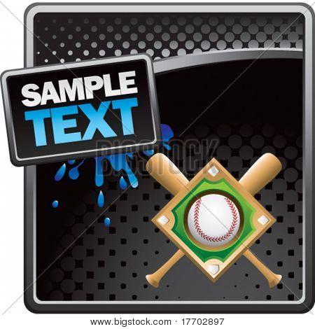 baseball diamond and bats on classy modern style grunge template