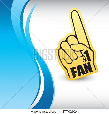 number one fan hand on vertical blue wave backdrop