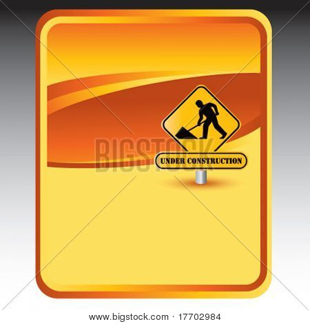 under construction sign on gold banner template