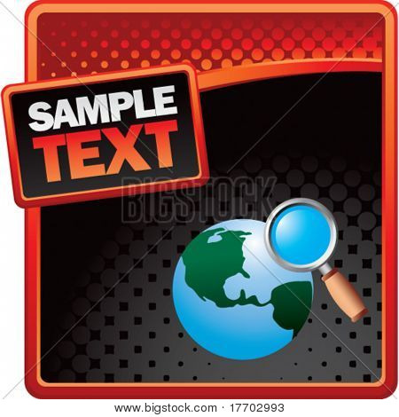 web searching on red and black halftone banner template