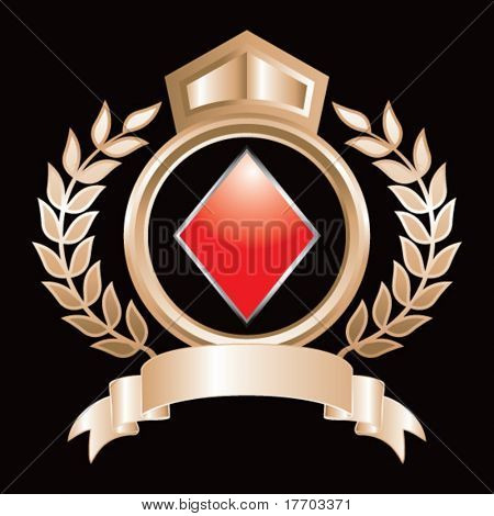 playing card suits on gold royal crest