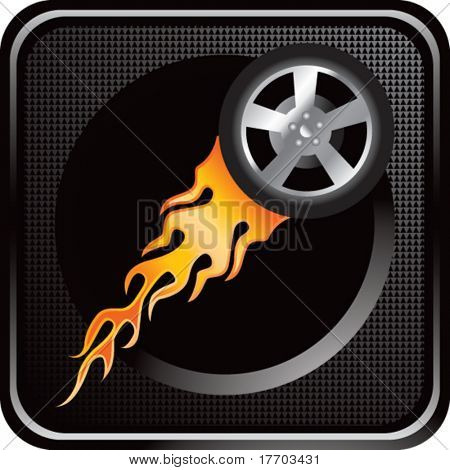 flaming racing tire on black web button