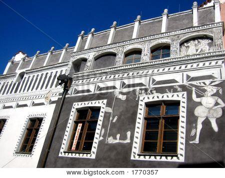 Painted Bohemian Exterior Wall, Cesky Krumlov, Czech Republic