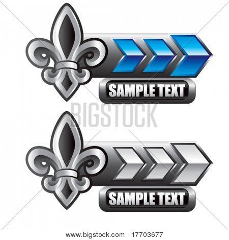 fleur de lis on blue and silver arrow nameplates