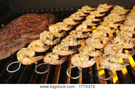 Succulent Steak And Shrimp On The Barbecue