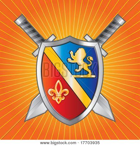 medieval shield and swords on orange starburst