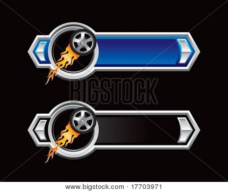 flaming racing tire on blue and black arrows