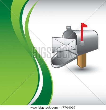 email mailbox on vertical green wave backdrop