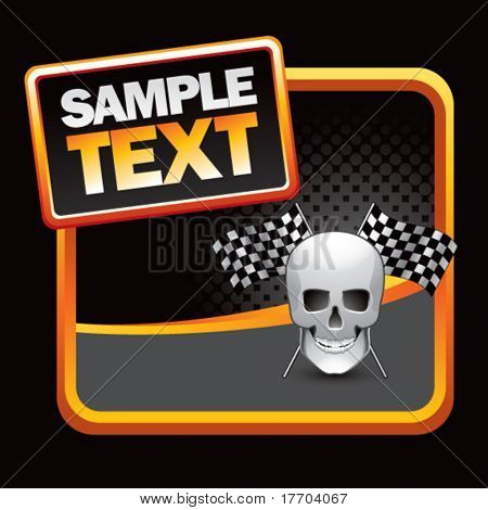 racing skull with checkered flags on stylized template