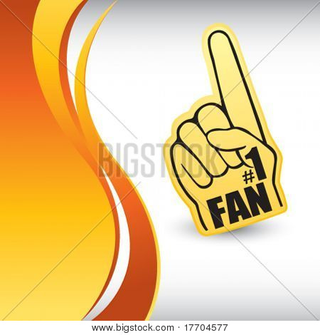 number one fan hand on vertical orange wave background