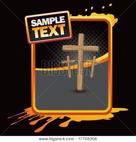 crosses on orange splattered advertisement