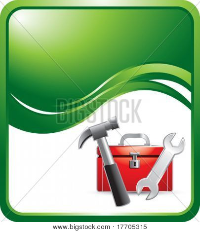 Toolbox and tools on green wave background