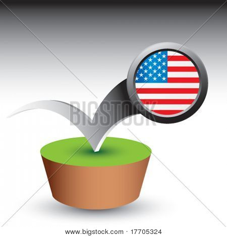 american flag pin bouncing on green patch