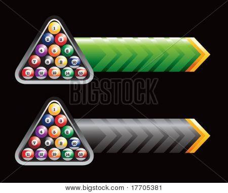 bolas de billar en las flechas verdes y negras