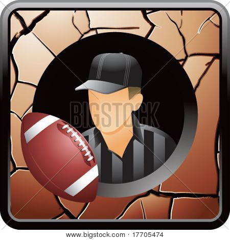 football referee on bronze cracked web button