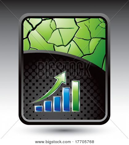 revenue growth on green cracked background