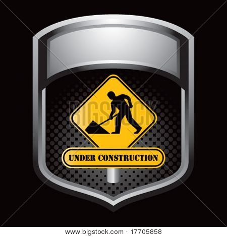 construction work sign in silver display