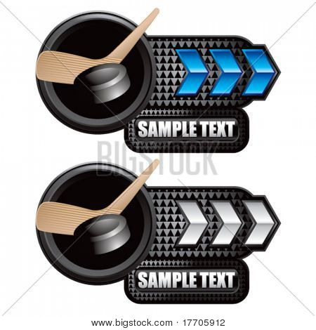 hockey puck and stick on blue and white arrow nameplate banners
