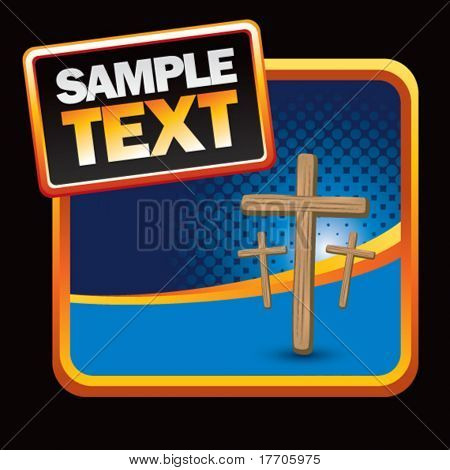 wooden crosses on stylized banner template