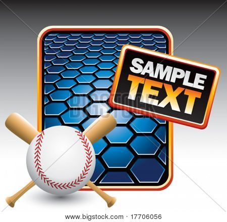 baseball and crossed bats on blue hexagon template