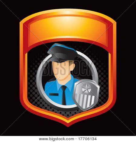 policial no visor laranja
