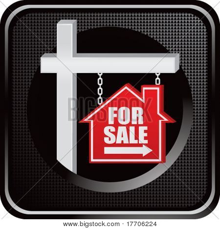 home for sale sign on black web button