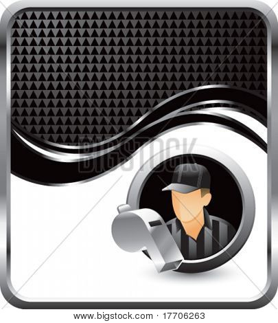 referee and whistle on black checkered wave background
