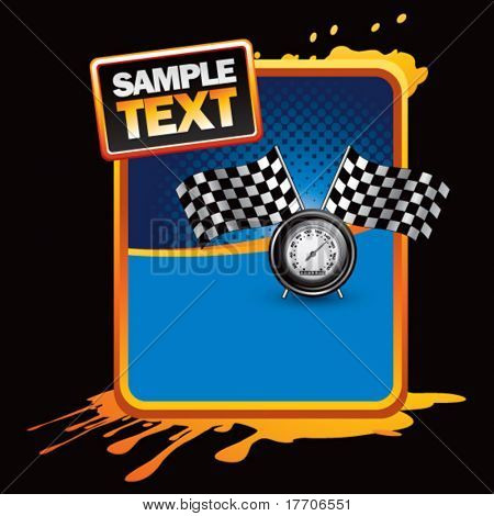 speedometer and checkered flags on orange grungy template
