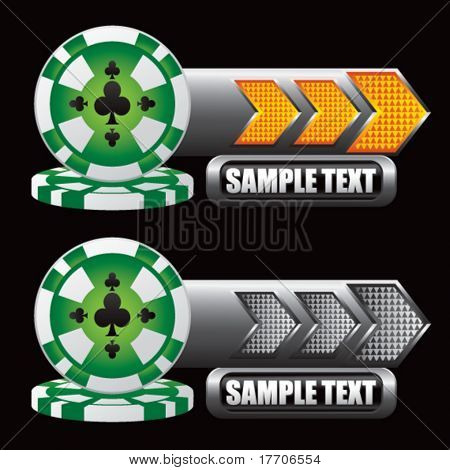 stacked poker chips on gold and gray arrow nameplates